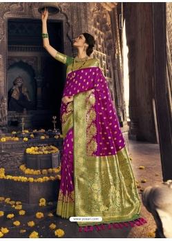Purple Heavy Designer Party Wear Banarasi Silk Sari