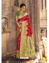 Red Heavy Designer Party Wear Banarasi Silk Sari