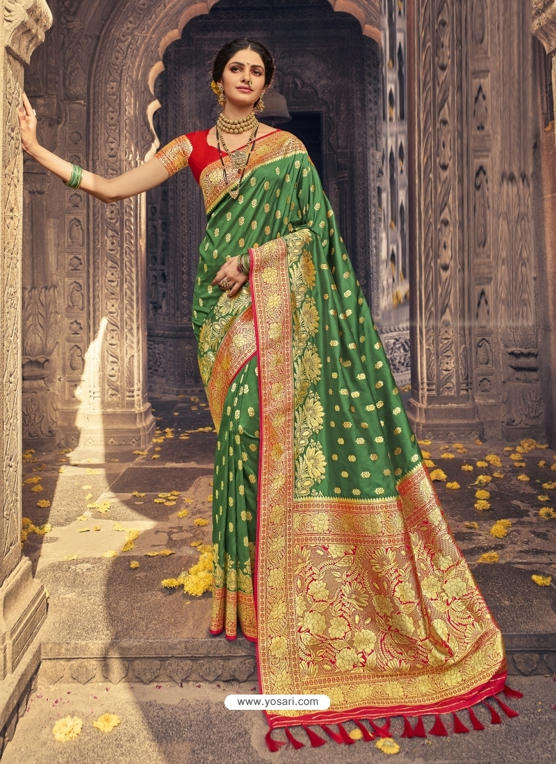 Forest Green Heavy Designer Party Wear Banarasi Silk Sari