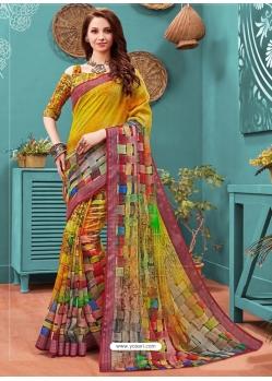 Multi Colour Designer Casual Wear Linen Cotton Sari