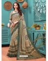 Olive Green Designer Casual Wear Linen Cotton Sari