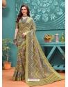 Pista Green Designer Casual Wear Linen Cotton Sari