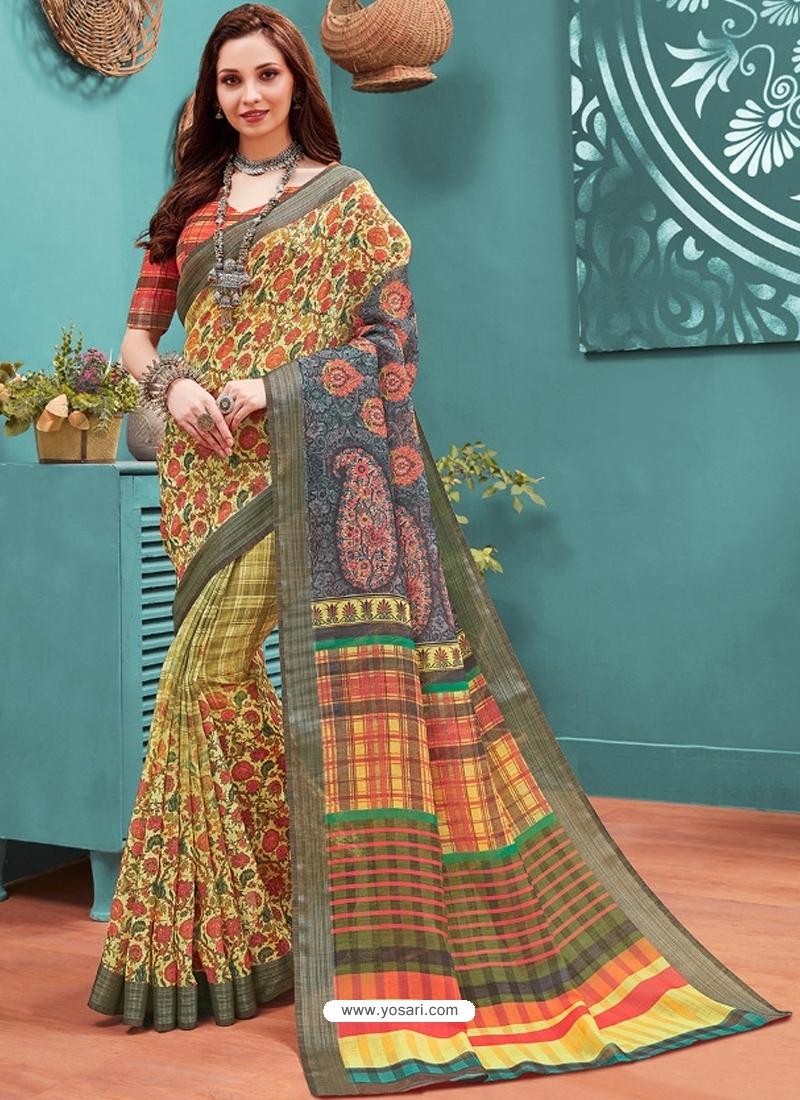 Light Yellow Designer Casual Wear Linen Cotton Sari