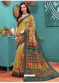 Mustard Designer Casual Wear Linen Cotton Sari