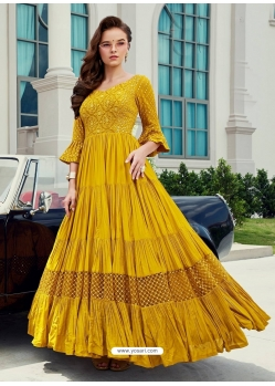 Yellow Readymade Designer Party Wear Gown Suit