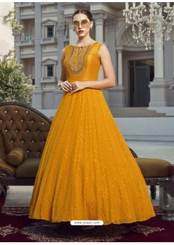 Mustard Readymade Designer Party Wear Gown Suit