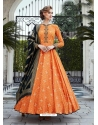 Orange Readymade Designer Party Wear Gown Suit