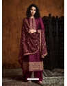 Deep Wine Readymade Designer Party Wear Faux Georgette Palazzo Suit