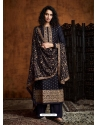 Navy Blue Readymade Designer Party Wear Faux Georgette Palazzo Suit