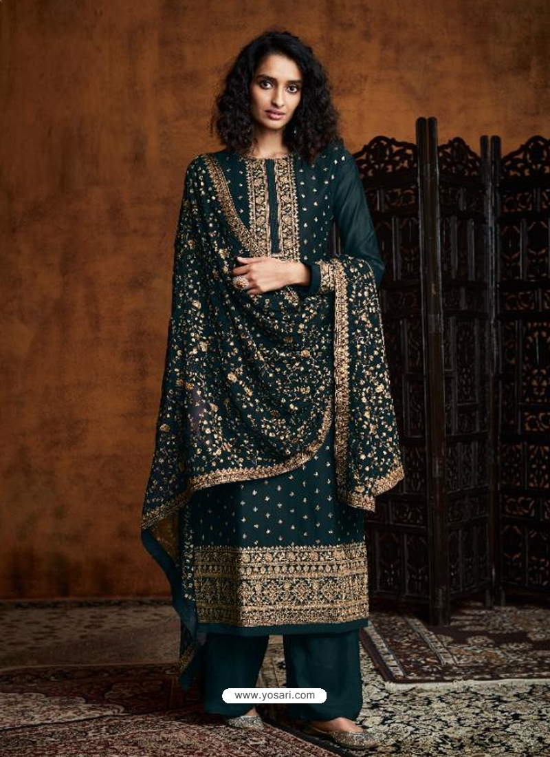 Teal Readymade Designer Party Wear Faux Georgette Palazzo Suit