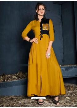 Mustard Designer Party Wear Western Gown