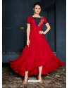 Tomato Red Designer Party Wear Western Gown