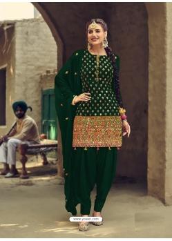 Dark Green Designer Party Wear Faux Georgette Patiala Suit