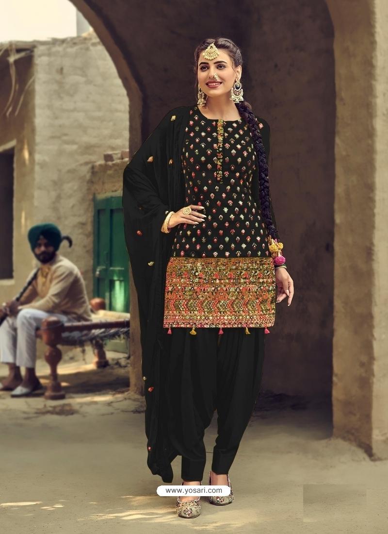 Black Designer Party Wear Faux Georgette Patiala Suit
