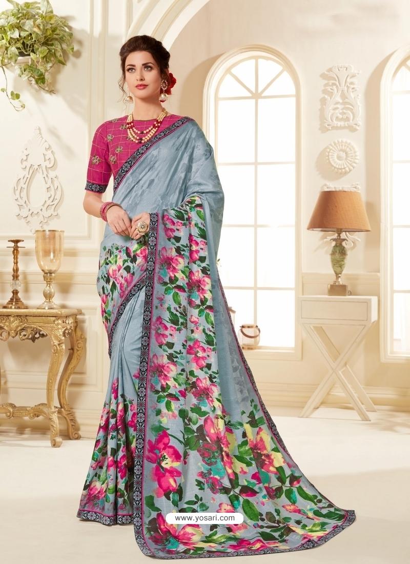 Aqua Grey Latest Designer Casual Wear Sari