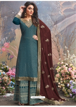 Teal Blue Designer Party Wear Upada Silk Palazzo Suit