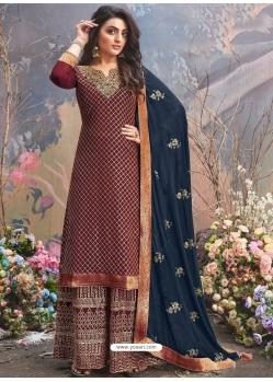 Maroon Designer Party Wear Upada Silk Palazzo Suit