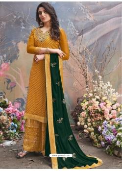 Mustard Designer Party Wear Upada Silk Palazzo Suit