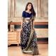 Navy Blue Latest Designer Party Wear Sari With Belt
