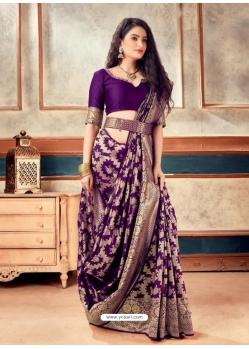 Purple Latest Designer Party Wear Sari With Belt