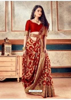 Red Latest Designer Party Wear Sari With Belt