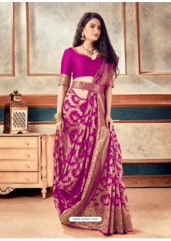 Medium Violet Latest Designer Party Wear Sari With Belt