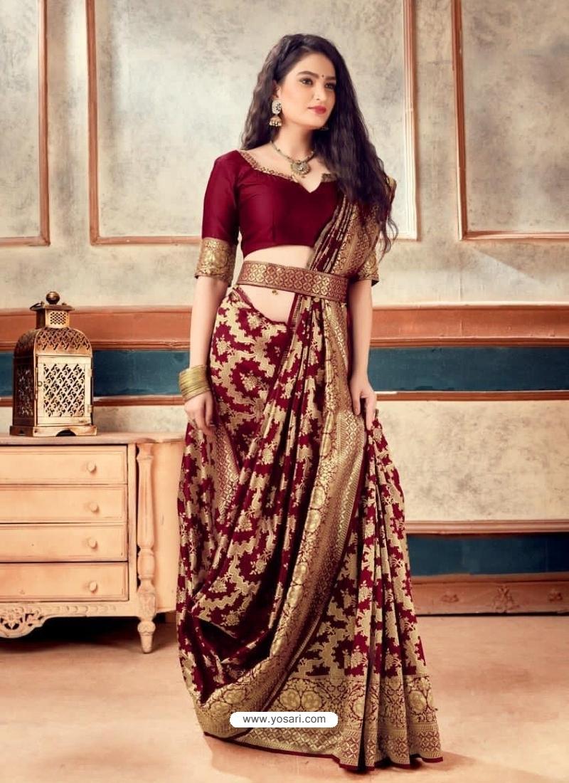 Maroon Latest Designer Party Wear Sari With Belt