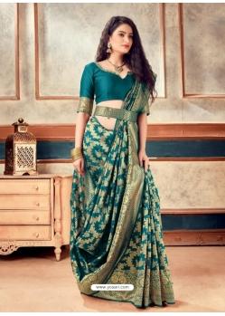 Teal Blue Latest Designer Party Wear Sari With Belt