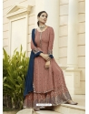 Old Rose Designer Party Wear Faux Georgette Palazzo Suit
