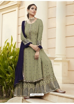 Olive Green Designer Party Wear Faux Georgette Palazzo Suit