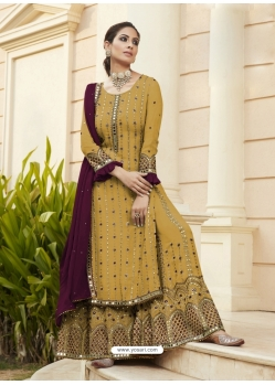 Marigold Designer Party Wear Faux Georgette Palazzo Suit