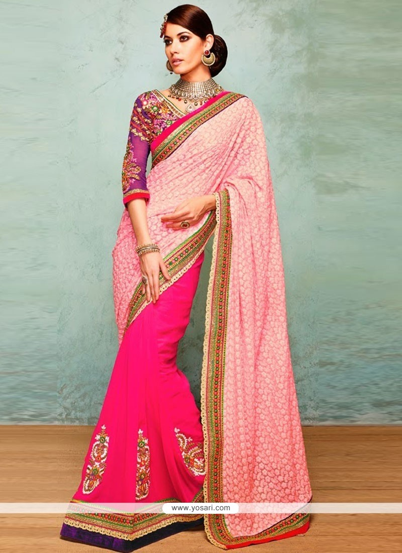 Opulent Pink Shade Faux Georgette Saree