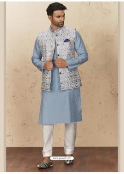 Aqua Grey Exclusive Readymade Designer Kurta Pajama With Waistcoat