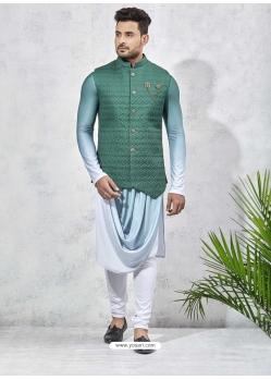 Sky Blue Exclusive Readymade Designer Kurta Pajama With Waistcoat