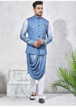 Blue Exclusive Readymade Designer Kurta Pajama With Waistcoat