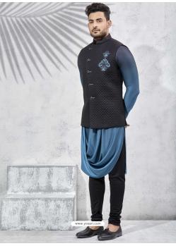 Black Exclusive Readymade Designer Kurta Pajama With Waistcoat