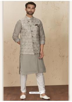 Grey Exclusive Readymade Designer Kurta Pajama With Waistcoat