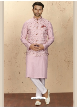 Pink Exclusive Readymade Designer Kurta Pajama With Waistcoat