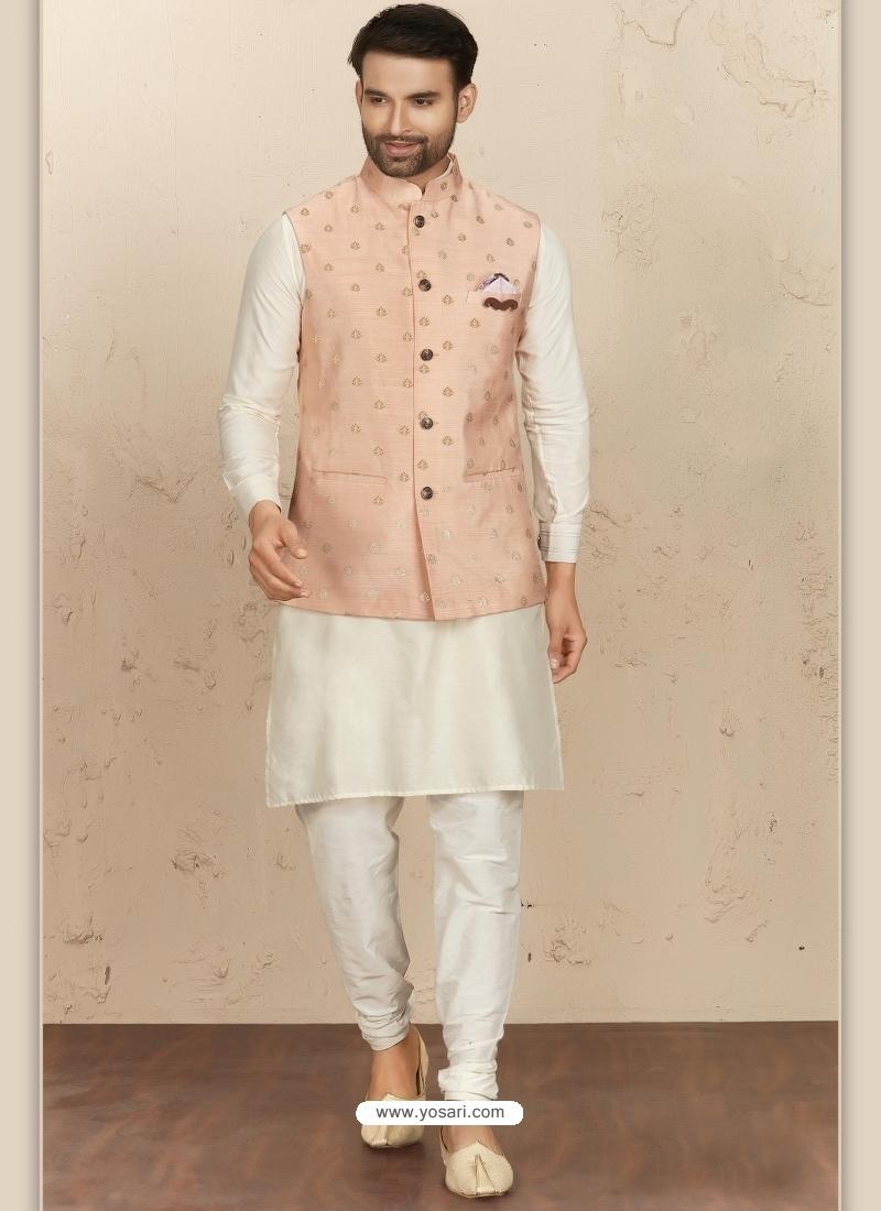 Off White Exclusive Readymade Designer Kurta Pajama With Waistcoat