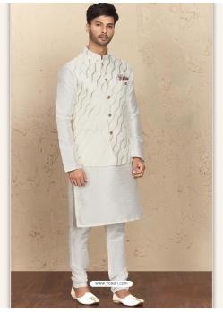 White Exclusive Readymade Designer Kurta Pajama With Waistcoat