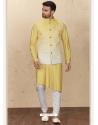 Yellow Exclusive Readymade Designer Kurta Pajama With Waistcoat