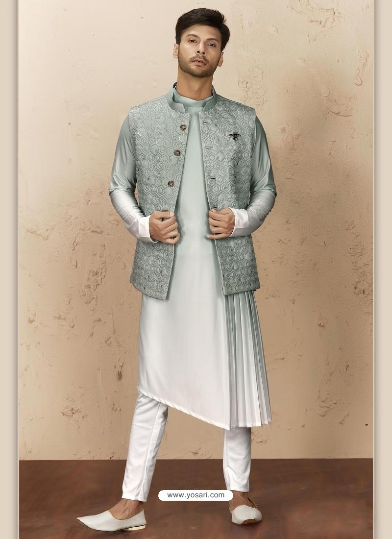 Light Grey Exclusive Readymade Designer Kurta Pajama With Waistcoat