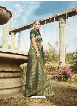 Dark Green Latest Designer Party Wear Banarasi Silk Sari