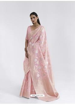 Baby Pink Latest Designer Party Wear Pure Linen Weaving Sari