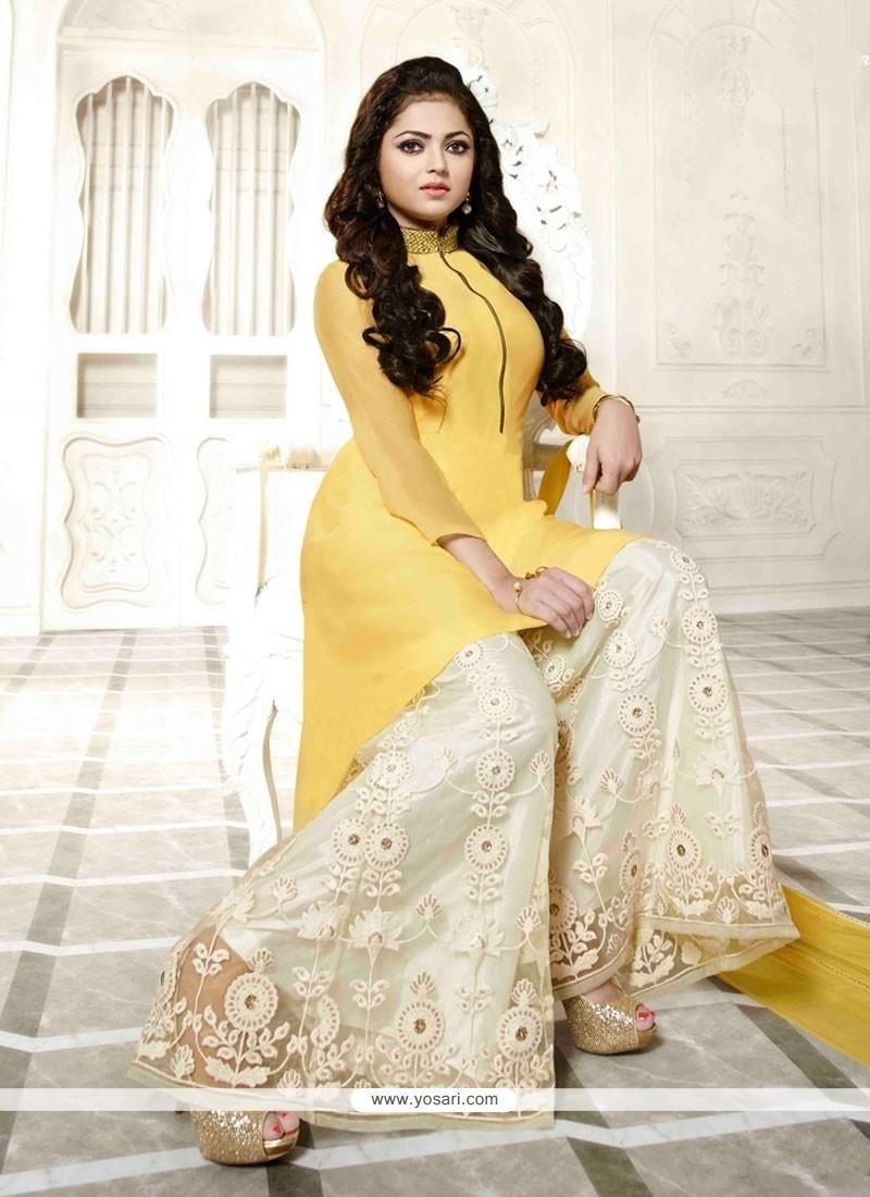 Shop Online Distinctive Yellow Designer Palazzo Salwar Kameez