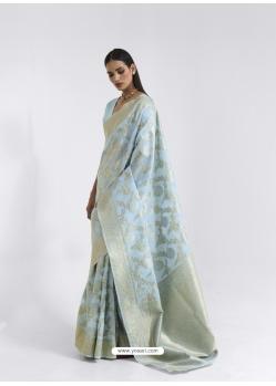 Sky Blue Latest Designer Party Wear Pure Linen Weaving Sari