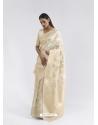 Off White Latest Designer Party Wear Pure Linen Weaving Sari