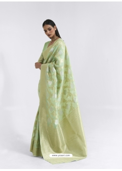 Green Latest Designer Party Wear Pure Linen Weaving Sari