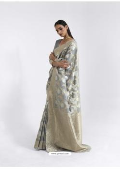 Grey Latest Designer Party Wear Pure Linen Weaving Sari
