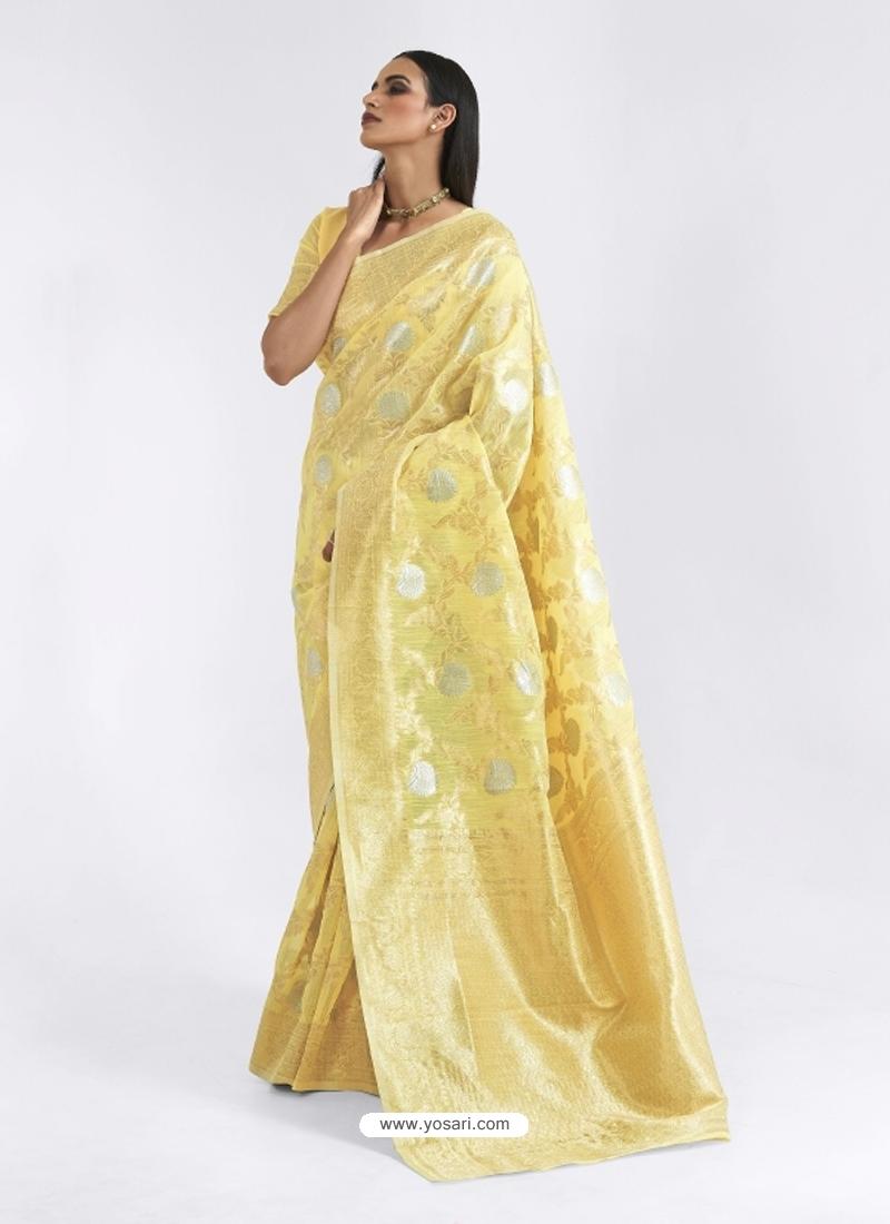 Light Yellow Latest Designer Party Wear Pure Linen Weaving Sari